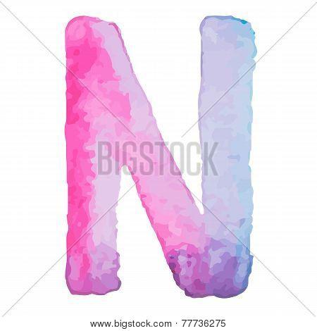Letter N Colorful watercolor aquarelle font type handwritten hand draw doodle abc alphabet letters V