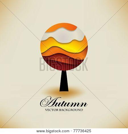 Stylized origami autumn tree