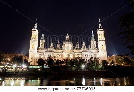 Basilica Del Pilar in Zaragoza in night illumination