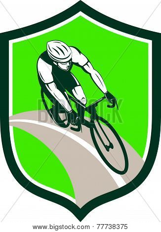 Cyclist Bicycle Rider Shield Retro