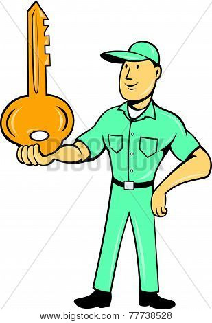 Locksmith Balancing Key Palm Cartoon