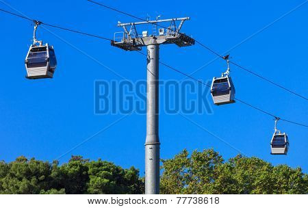 a ropeway on a background of blue sky