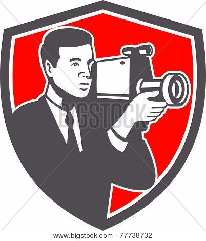Video Cameraman Shooting Vintage Shield Retro