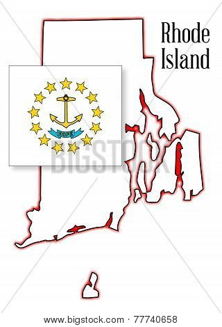 Rhode Island State Map And Flag