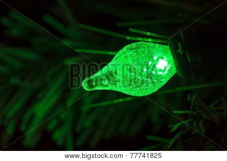Green Christmas Tree Light Bulb