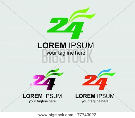 24 h logo hours vector