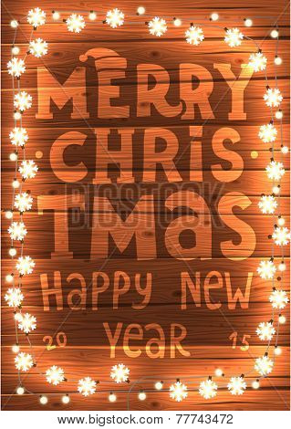 Glowing White Christmas Lights for Xmas Holiday Greeting Cards Design. Wooden Hand Drawn Background.