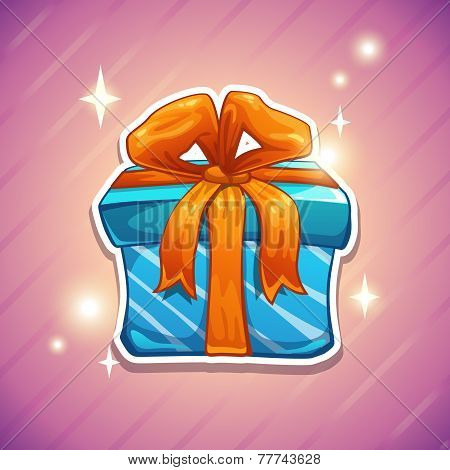 Blue gift box with orange bow.