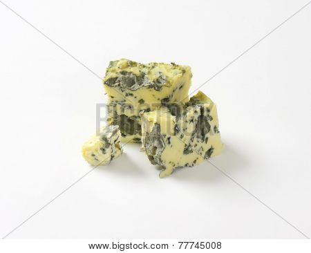 small pieces of roquefort cheese