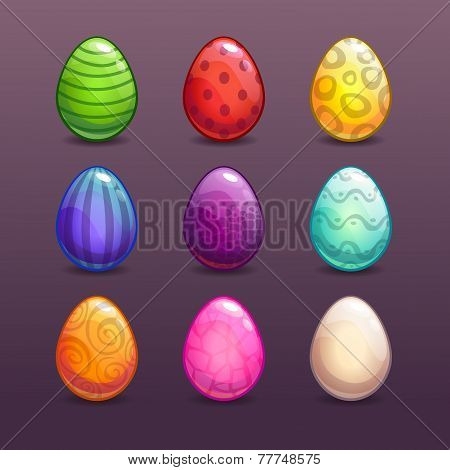 Colorful eggs in different colors