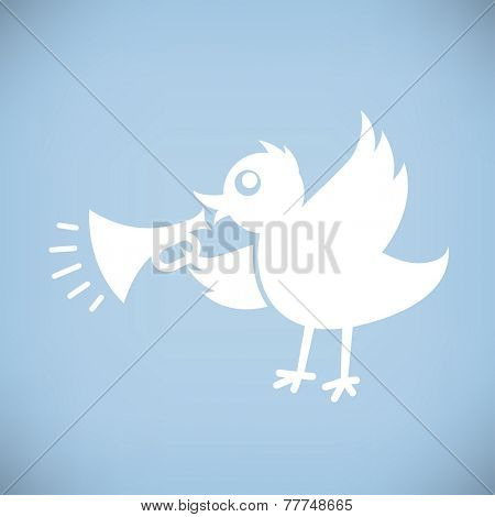 White Bird with Horn. Flat style