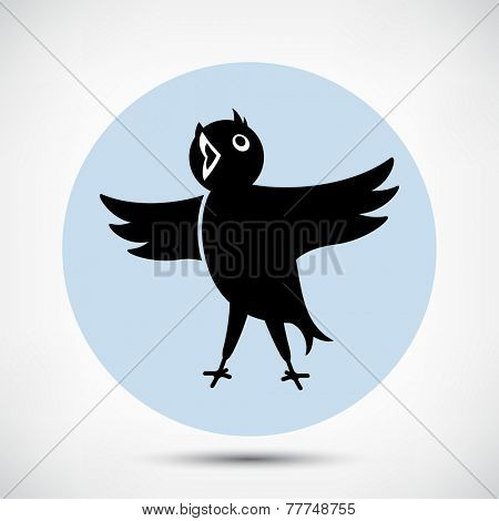 Singing Cute Black Bird Icon. Flat style