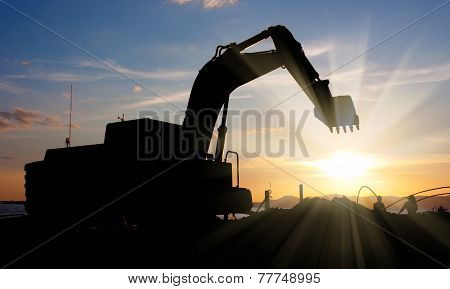 Excavator Machine Doing Earthmoving