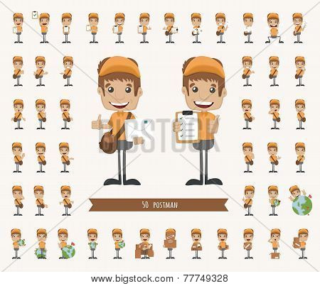Set Of Postman Character