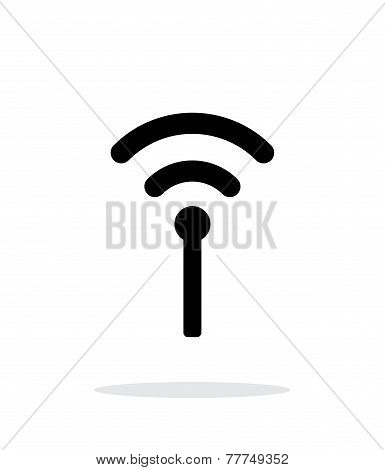 Antenna broadcasting radio icon on white background.