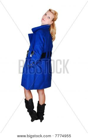Pretty Lady In Blue Coat.