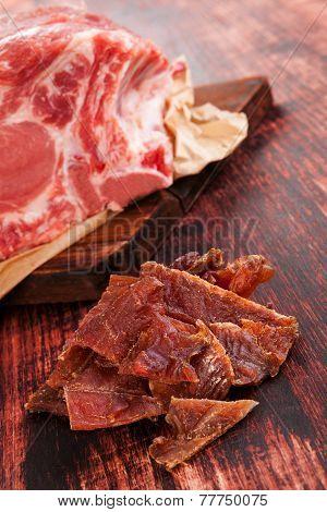 Dry Meat, Beef Jerky.