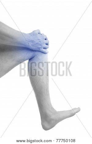 Man Holding His Injured Knee.