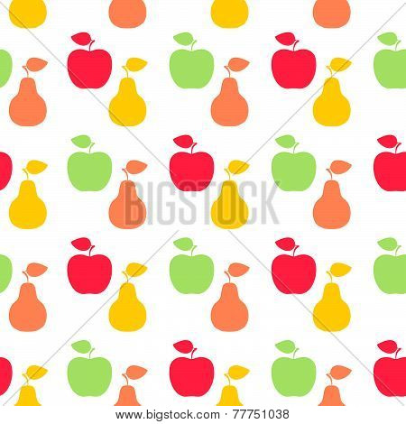 Apple and pear sign icon. Fruit with leaf symbol. Seamless grid lines texture. Cells repeating patte