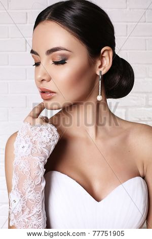 Beautiful Bride With Elegant Hairstyle Wearing Wedding Dress
