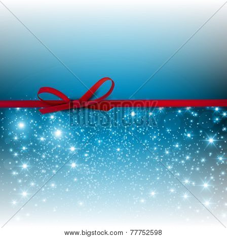 Gorgeous blue background  with red bow and copy space. Vector illustration