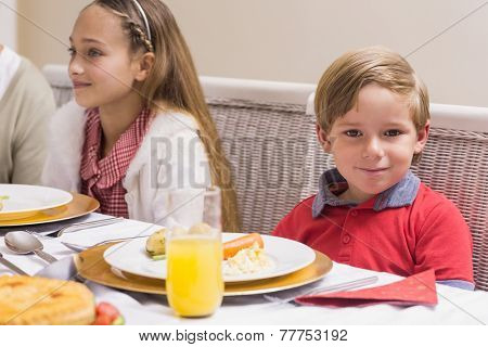 Portrait of little boy during christmas dinner at home in the living room