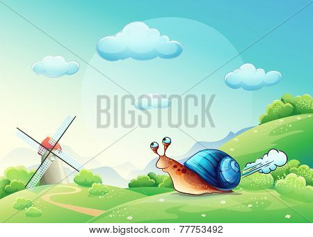 Illustration cheerful snail on a meadow