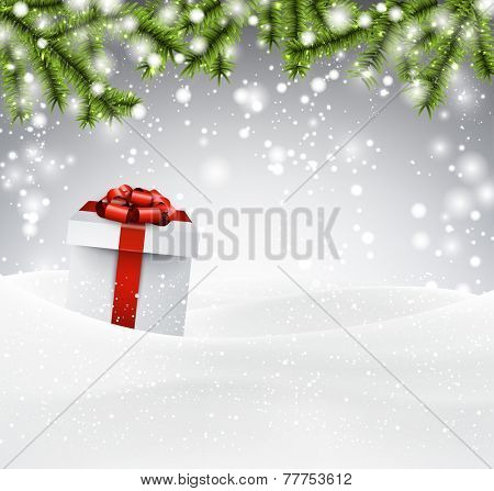 Winter abstract background with spruce twigs and gift box. Christmas vector wallpaper. Eps10.