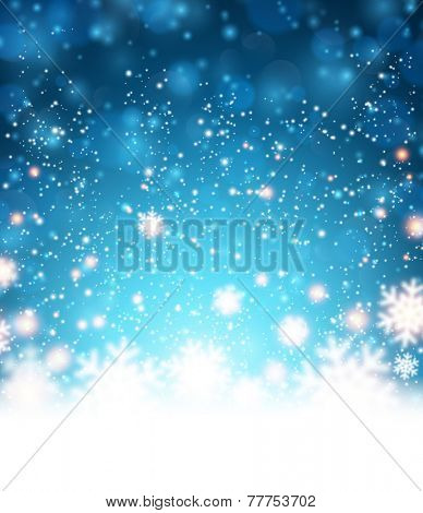 Winter blue background. Fallen defocused snowflakes. Christmas. Vector.
