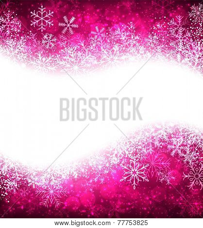 Magenta winter abstract background. Christmas background with snowflakes. Vector.