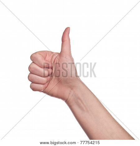 Thumb Up Sign On White Background
