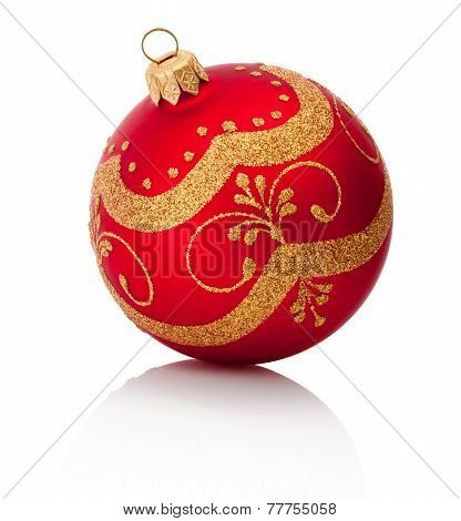 Red Decorations Christmas Ball Isolated On White Background