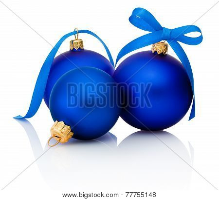Three Blue Christmas Balls With Ribbon Bow Isolated On White Background