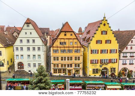 Tourists At The Market Place Of Rothenburg Ob Der Tauber