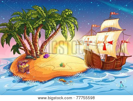 Illustration Of Treasure Island With The Ship Caravel