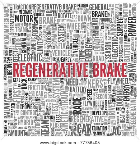 Close up Red REGENERATIVE BRAKE Text at the Center of Word Tag Cloud on White Background.