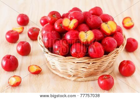 Malpighia Glabra (red Acerola), Tropical Fruit  In Wicker Busket On Wooden Table