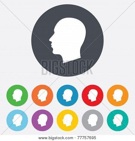 Head sign icon. Male human head.