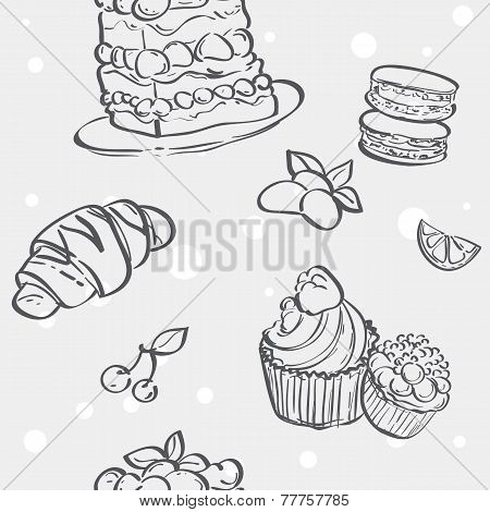 Seamless pattern with cupcakes image croissant and flan