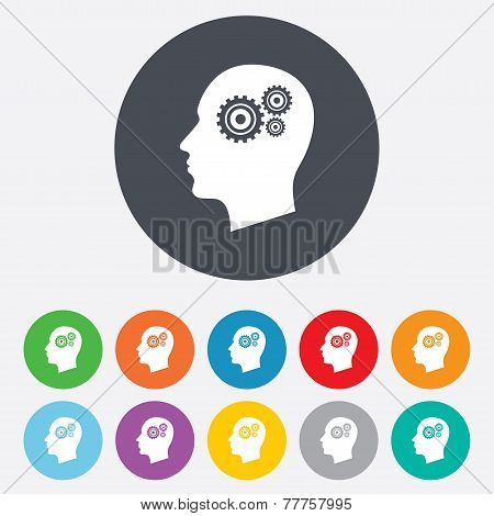 Head with gears sign icon. Male human head.