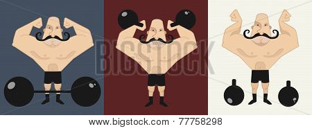 3 Strongmans  In Different Poses