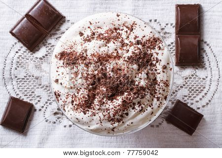 Whipped Cream With Dark Chocolate. Top View