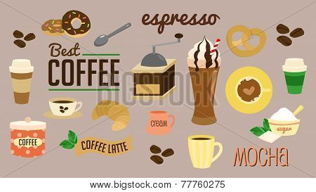 Coffee break vector set