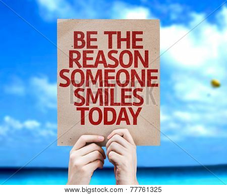 Be The Reason Someone Smiles Today card with a beach background