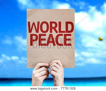 World Peace card with a beach on background
