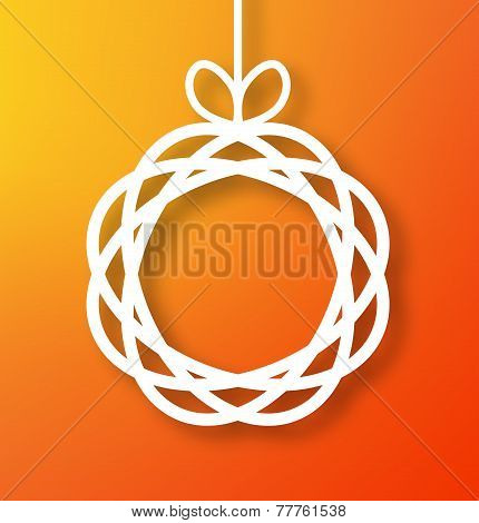 Abstract Circle Paper Applique on Orange Background.