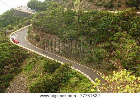 Winding road in Anaga Mountains, Tenerife, Spain, Europe