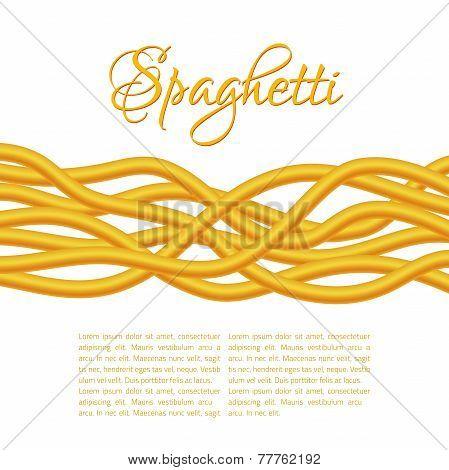 Realistic Twisted Spaghetti Pasta, horizontal composition