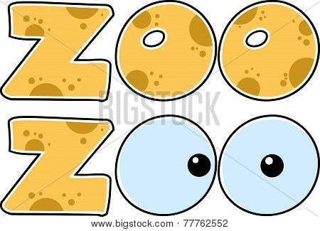 Skin Zoo Text With Eyes. Collection Set