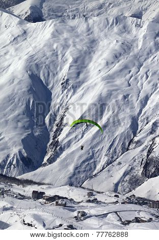 Speed Flying In Snow Mountains At Sun Day